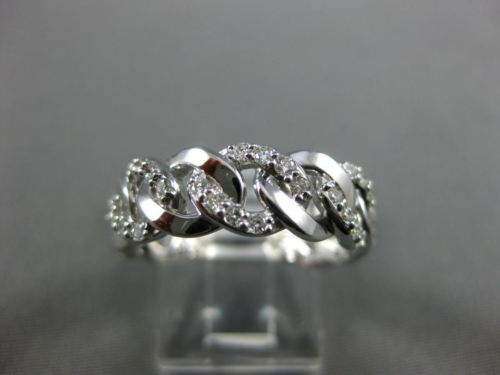 ESTATE WIDE .40CT DIAMOND 14KT WHITE GOLD 3/4TH ETERNITY LOVE KNOT WEDDING RING