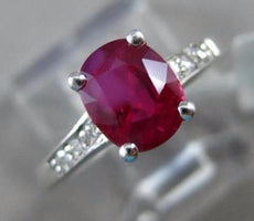 1.28CT DIAMOND & AAA RUBY 14KT WHITE GOLD 3D CLASSIC OVAL ENGAGEMENT RING #1998