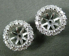 ESTATE .57CT DIAMOND 14KT WHITE GOLD 3D SHARE PRONG HALO JACKET EARRINGS 11mm