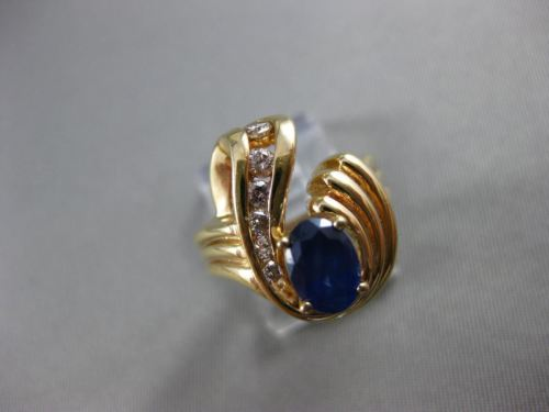 ANTIQUE 1.40CT DIAMOND & AAA OVAL SAPPHIRE 14KT YELLOW GOLD JOURNEY RING #12164