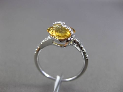 ESTATE 2.64CT DIAMOND & YELLOW TOPAZ 14KT WHITE GOLD 3D FLOATING ENGAGEMENT RING