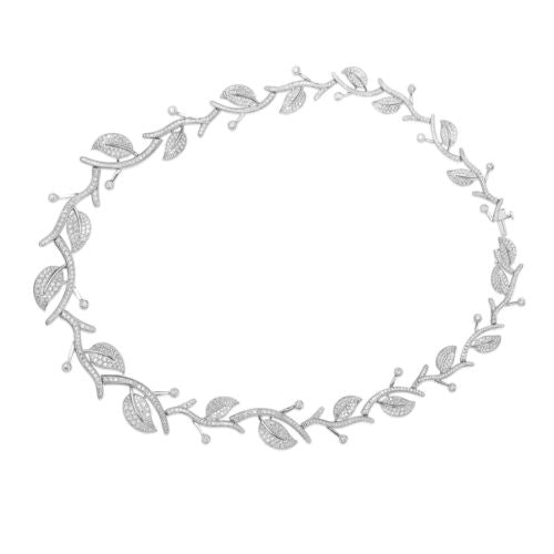 ESTATE 9.81CT DIAMOND 14KT WHITE GOLD 3D ETOILE LEAF ETERNITY TENNIS NECKLACE