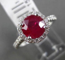 ESTATE 2.20CT DIAMOND & RUBY 14KT WHITE GOLD HALO SEMI ETERNITY ENGAGEMENT RING