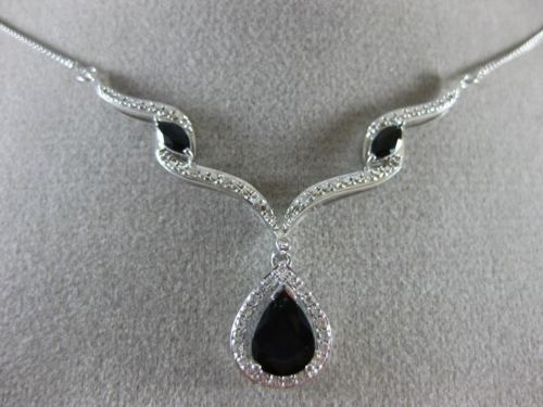 LARGE 2.05CT DIAMOND & AAA PEAR SHAPE SAPPHIRE 14K WHITE GOLD TEAR DROP NECKLACE