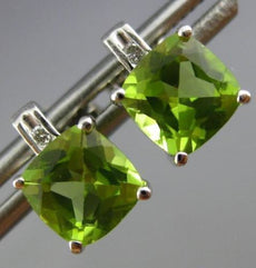 ESTATE 1.67CT DIAMOND & AAA PERIDOT 14KT WHITE GOLD CLASSIC SQUARE STUD EARRINGS
