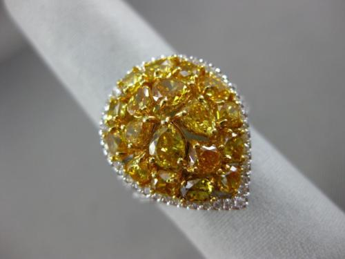 EXTRA LARGE 4.2CT WHITE & INTENSE YELLOW DIAMOND 18K 2 TONE GOLD PEAR SHAPE RING