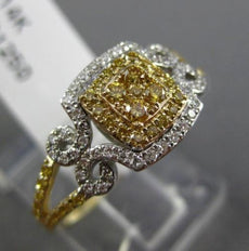 EFFY .55CT WHITE & FANCY YELLOW DIAMOND 14KT TWO TONE GOLD FILIGREE SQUARE RING
