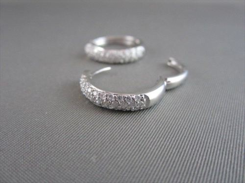 ESTATE 1.0CT DIAMOND 14KT WHITE GOLD 3D CLASSIC HOOP EARRINGS
