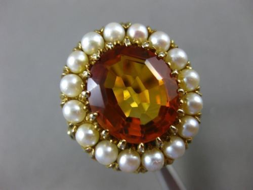 ANTIQUE LARGE 10CT AAA CITRINE & SOUTH SEA PEARL 14KT YELLOW GOLD 3D FLOWER RING