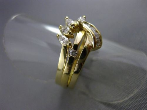 ESTATE WIDE .35CT DIAMOND 14KT YELLOW GOLD ABSTRACT BIRD COCKTAIL RING #22679