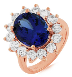LARGE 7.40CT DIAMOND & AAA TANZANITE 14KT ROSE GOLD CLASSIC HALO ENGAGEMENT RING