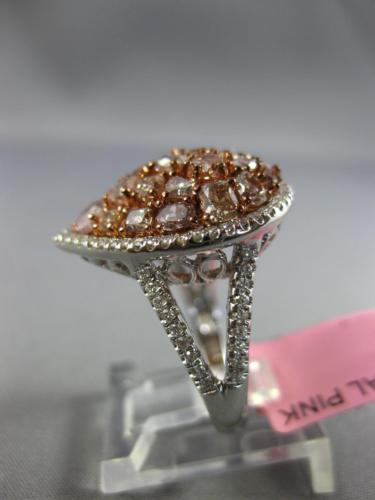 LARGE 2.67CT WHITE & PINK DIAMOND 18K WHITE & ROSE GOLD 3D HALO ANNIVERSARY RING