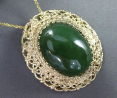ANTIQUE LARGE GREEN JADE 14KT YELLOW GOLD FILIGREE PIN PENDANT AMAZING! #21962