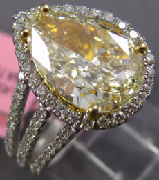 ESTATE LARGE 3.61CT WHITE & FANCY YELLOW DIAMOND 18K 2 TONE GOLD ENGAGEMENT RING