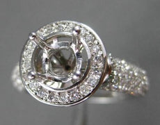 ESTATE WIDE .88CT DIAMOND 14KT WHITE GOLD HALO SEMI MOUNT ENGAGEMENT RING #21810