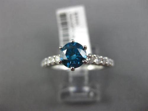 ESTATE 1.40CT WHITE & BLUE DIAMOND 14KT WHITE GOLD ROUND 6 PRONG ENGAGEMENT RING
