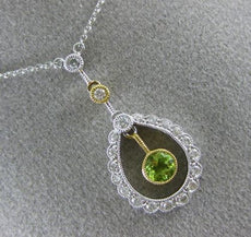 ANTIQUE .43CT DIAMOND & AAA PERIDOT 14K WHITE GOLD 3D MILGRAIN FLOATING NECKLACE