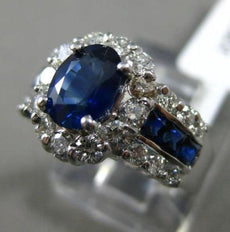 ESTATE WIDE 2.14CT DIAMOND & SAPPHIRE 14KT WHITE GOLD OVAL HALO ENGAGEMENT RING