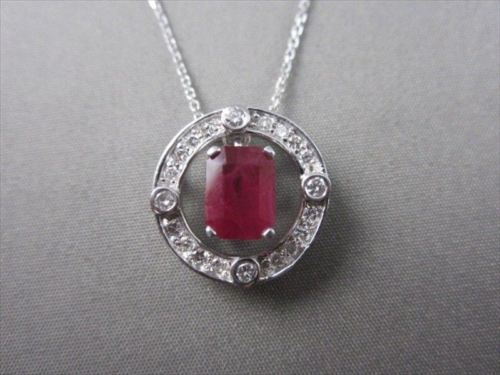 ESTATE 2.20CT DIAMOND & AAA SOLITAIRE RUBY 18K WHITE GOLD FLOATING PENDANT #392