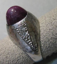 ANTIQUE 7.25CTW OLD EURO DIAMOND STAR SAPPHIRE 14KT WHITE GOLD MENS RING #21434