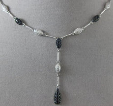 ESTATE 2.13CT DIAMOND & SAPPHIRE 14K WHITE GOLD BY THE YARD LARIAT DROP NECKLACE