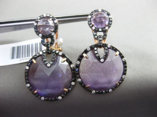 ESTATE LARGE 1.08CT DIAMOND & AMETHYST 14K ROSE GOLD HALO ROUND CLIP ON EARRINGS