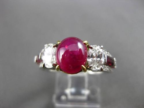 ANTIQUE 3.75CT DIAMOND & AAA RUBY PLATINUM & 18KT YELLOW GOLD 3D ENGAGEMENT RING