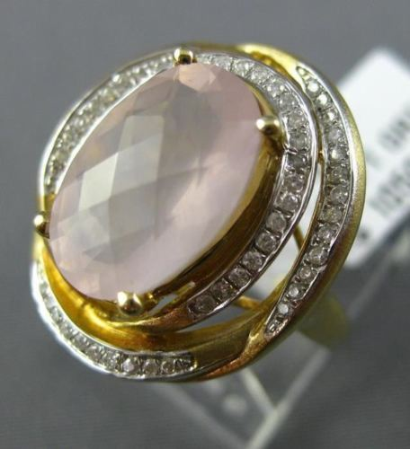 ESTATE 4.43CT DIAMOND & AAA OVAL PINK QUARTZ 14KT YELLOW GOLD 3D FLOWER FUN RING