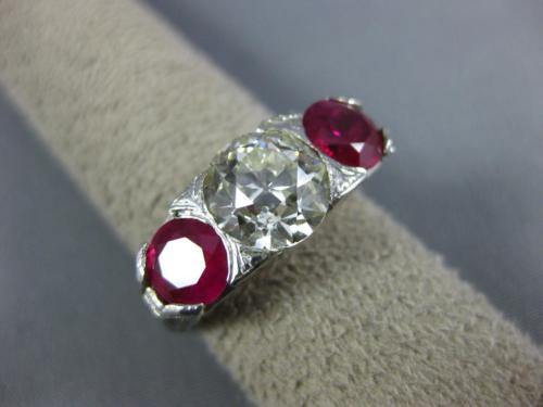 ANTIQUE LARGE 4.33CT DIAMOND & AAA RUBY PLATINUM 3D THREE STONE ENGAGEMENT RING