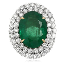 EXTRA LARGE 20.59CT DIAMOND & AAA EMERALD 18KT 2 TONE GOLD & PLATINUM HALO RING