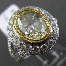 ESTATE MASSIVE 4.14CT WHITE & FANCY YELLOW DIAMOND 18K 2TONE GOLD ENGAGMENT RING