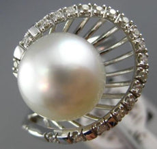 ESTATE WIDE .29CT DIAMOND & AAA SOUTH SEA PEARL 14K WHITE GOLD SHELL FLOWER RING