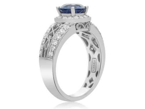 GIA CERTIFIED 2.14CT DIAMOND & AAA SAPPHIRE 18KT WHITE GOLD HALO ENGAGEMENT RING
