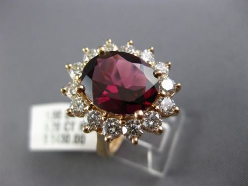 LARGE 7.10CT DIAMOND & RHODOLITE 14K ROSE GOLD 3D PRINCESS DIANA ENGAGEMENT RING