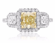 GIA CERTIFIED 2.59CT WHITE & FANCY YELLOW DIAMOND 18K 2TONE GOLD ENGAGEMENT RING