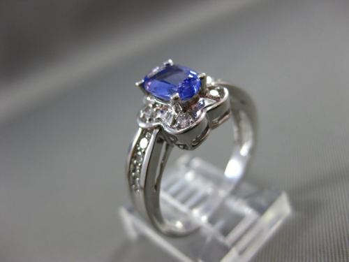 ESTATE 1.20CT DIAMOND & AAA OVAL TANZANITE 14K WHITE GOLD ENGAGEMENT RING #15308