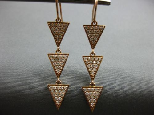 WIDE .98CT DIAMOND 14K ROSE GOLD TRIANGULAR PAST PRESENT FUTURE HANGING EARRINGS