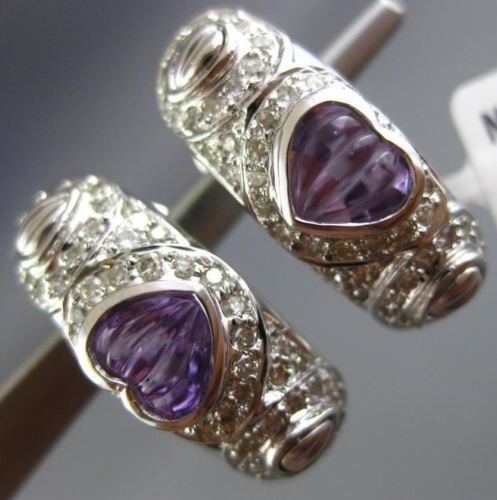 LARGE 1.94CT DIAMOND & AMETHYST 18K WHITE GOLD 3D HEART HANGING CLIP ON EARRINGS
