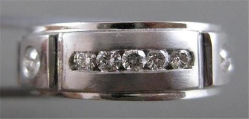 ESTATE WIDE DIAMOND 14KT WHITE GOLD BRICK MENS WEDDING RING BAND 10.25 7MM #1833