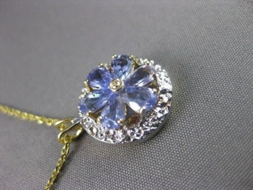 ESTATE 1.20CT AAA TANZANIA 14KT 2TONE GOLD ROUND FLOWER PENDANT W/ CHAIN #22204
