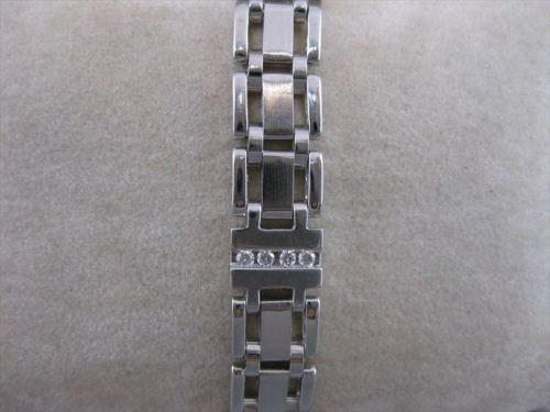 ESTATE WIDE LONG 1.0CT DIAMOND 14KT WHITE GOLD LINK MENS BRACELET F VVS #19955