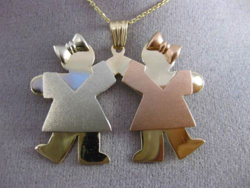 ESTATE LARGE 14KT TRI COLOR GOLD 3D 2 BABY GIRLS ENGRAVABLE CHARM PENDANT #24248