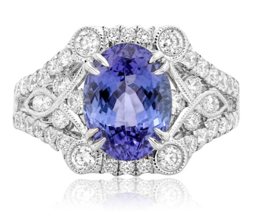 ESTATE WIDE 3.48CT DIAMOND & AAA OVAL TANZANITE 18KT WHITE GOLD ENGAGEMENT RING