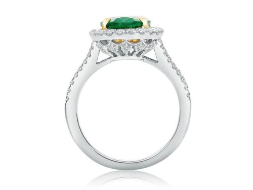 GIA CERTIFIED 4.13CT DIAMOND & AAA EMERALD 14KT 2 TONE GOLD OVAL ENGAGEMENT RING