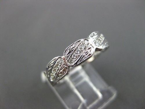 ANTIQUE WIDE .45CT DIAMOND 18K WHITE GOLD FILIGREE ETERNITY SQUARE RING #9416