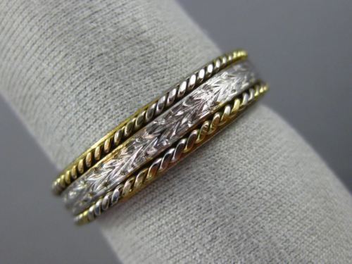 ANTIQUE 14KT TWO TONE GOLD 3D FILIGREE HANDCRAFTED WEDDING ANNIVERSARY RING 1058