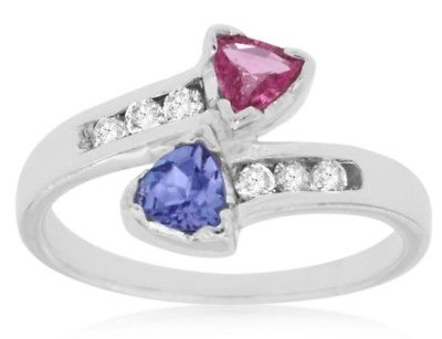 .70CT DIAMOND & AAA TANZANITE PINK SAPPHIRE 14KT WHITE GOLD 3D CRISS CROSS RING