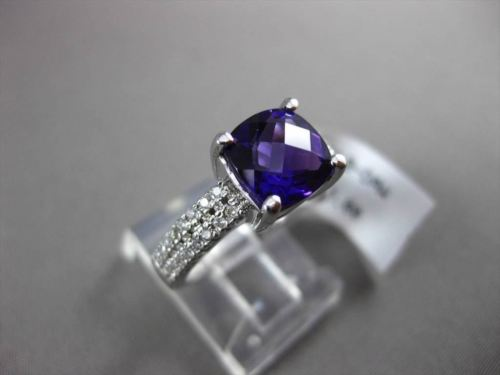 ESTATE 2.21CTW DIAMOND & AAA AMETHYST 14KT WHITE GOLD DOUBLE ROW ENGAGEMENT RING