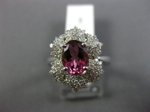 LARGE 1.89CT DIAMOND & AAA OVAL PINK TOURMALINE 14KT WHITE GOLD ENGAGEMENT RING