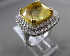 ESTATE MASSIVE 14.15CT DIAMOND & YELLOW SAPPHIRE 18KT WHITE GOLD ENGAGEMENT RING